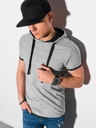 T shirt męski z kapturem bez nadruku S1376 szary melanż S - Ceny i opinie T-shirty i koszulki męskie HVIZ