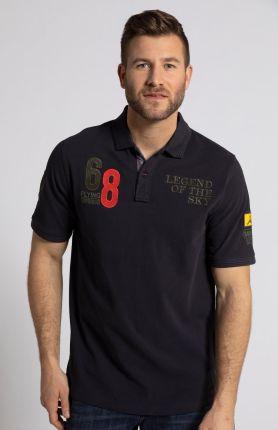 Duże rozmiary Koszulka polo z naszywkami i krÓtkim rękawem, mężczyzna, niebieski, rozmiar 6XL, bawełna, JP1880 - Ceny i opinie T-shirty i koszulki męskie CEWR
