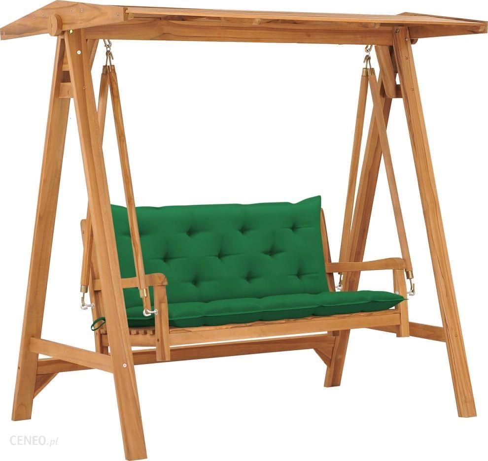 Vidaxl Huśtawka Ogrodowa Z Zieloną Poduszką 170Cm Drewno Tekowe