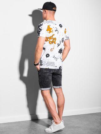 Ombre Clothing T-Shirt Męski Z Nadrukiem S1415 - Biały - S - Ceny i opinie T-shirty i koszulki męskie SNSQ