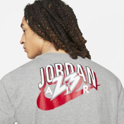 Jordan Męski T-Shirt Z KrÓtkim Rękawem 23 Swoosh - Szary - Ceny i opinie T-shirty i koszulki męskie RRWT