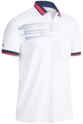 Callaway Printed Stripe Mens Polo Shirt Bright White L - Ceny i opinie T-shirty i koszulki męskie JVUR