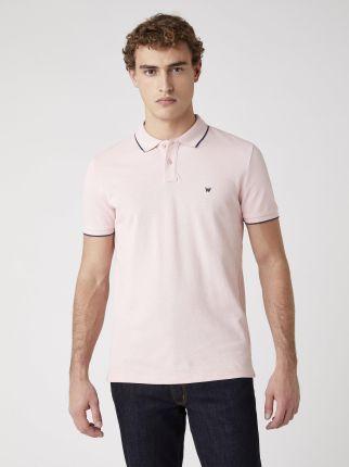 Wrangler Polo Tee Silver Pink - Ceny i opinie T-shirty i koszulki męskie TMVN