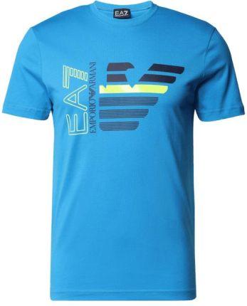 Ea7 Emporio Armani T-Shirt Z Czystej Bawełny Z Nadrukiem - Ceny i opinie T-shirty i koszulki męskie LNRQ