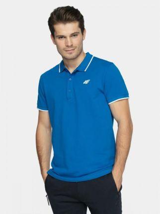 4F Koszulka Polo Męska PolÓwka Bawełniana Niebieska - Ceny i opinie T-shirty i koszulki męskie FPYS