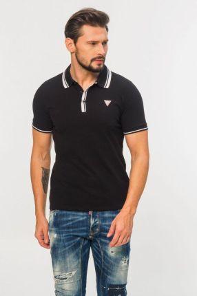 Guess - Czarna Koszulka Polo Z TrÓjkątnym Logo - Ceny i opinie T-shirty i koszulki męskie LVWM