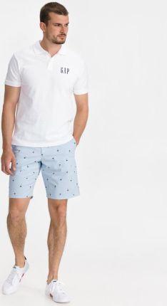 GAP Logo Polo Koszulka Biały - Ceny i opinie T-shirty i koszulki męskie EHNS