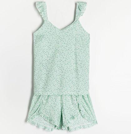 Reserved - Dwuczęściowa Piżama - Zielony - Ceny i opinie Pidżamy damskie YJIF