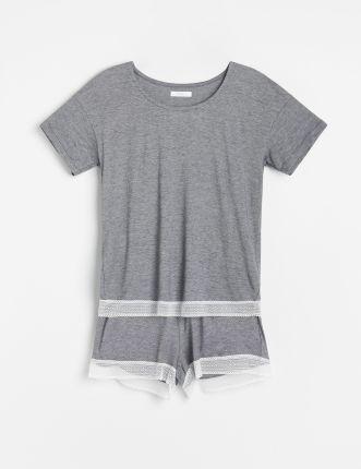Reserved - Piżama Z Szortami Z Bawełny Organicznej - Czarny - Ceny i opinie Pidżamy damskie SUDV