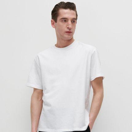 Reserved Gładki T shirt Basic Biały - Ceny i opinie T-shirty i koszulki męskie TVHY