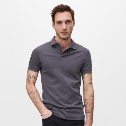 Reserved Polo z wysokiej jakości bawełny Szary - Ceny i opinie T-shirty i koszulki męskie XFWU