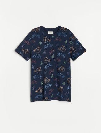 Reserved T shirt z nadrukiem w rowery Granatowy - Ceny i opinie T-shirty i koszulki męskie GDMK