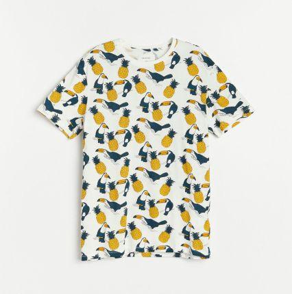 Reserved T shirt z wyrazistym printem Kremowy - Ceny i opinie T-shirty i koszulki męskie ICMP