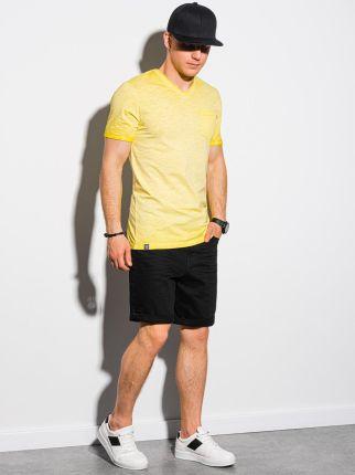 T-shirt męski bawełniany S1388 - żÓłty - S - Ceny i opinie T-shirty i koszulki męskie TVDI