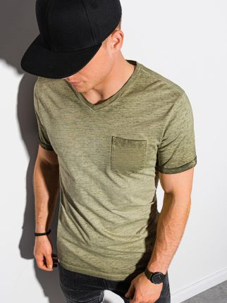 T-shirt męski bawełniany S1388 - oliwkowy - S - Ceny i opinie T-shirty i koszulki męskie WVKA