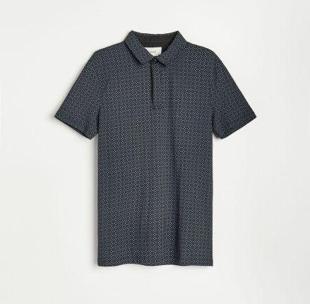 Reserved - Koszulka polo z mikroprintem - Czarny - Ceny i opinie T-shirty i koszulki męskie DIJW