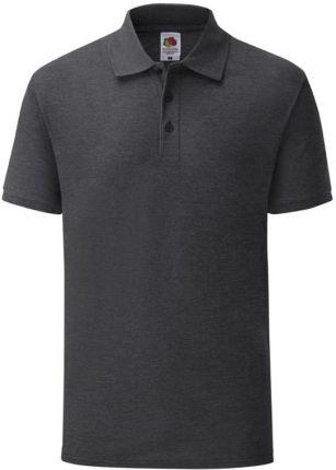 Koszulka męska Tailored Fit Polo 65/35 Fruit of the Loom - Dark Heather Grey - Ceny i opinie T-shirty i koszulki męskie XCCB