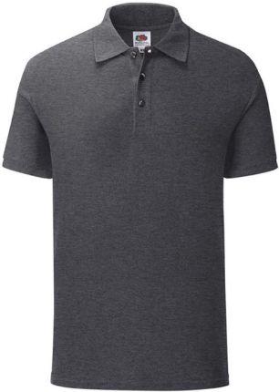 Koszulka męska Iconic Polo z odrywaną metką Fruit of the Loom - Dark Heather Grey - Ceny i opinie T-shirty i koszulki męskie ORWY