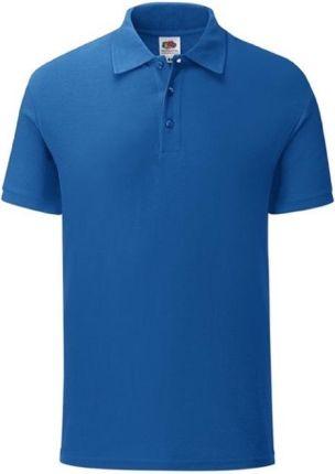 Koszulka męska Iconic Polo z odrywaną metką Fruit of the Loom - Niebieski - Ceny i opinie T-shirty i koszulki męskie WBZM