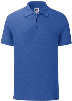 Koszulka męska Iconic Polo z odrywaną metką Fruit of the Loom - Retro Heather Royal - Ceny i opinie T-shirty i koszulki męskie XWAR