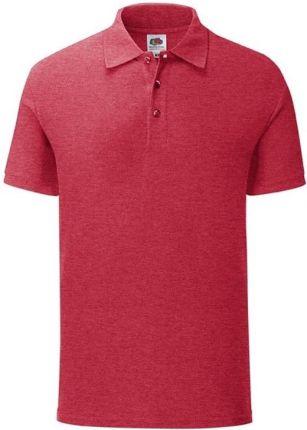 Koszulka męska Iconic Polo z odrywaną metką Fruit of the Loom - Vintage Heather Red - Ceny i opinie T-shirty i koszulki męskie FPSR