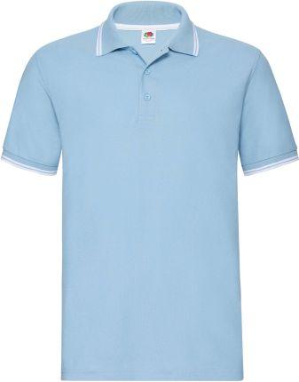 Koszulka męska Tipped Polo Fruit Of The Loom - Błękitny/Biały - Ceny i opinie T-shirty i koszulki męskie IUNL