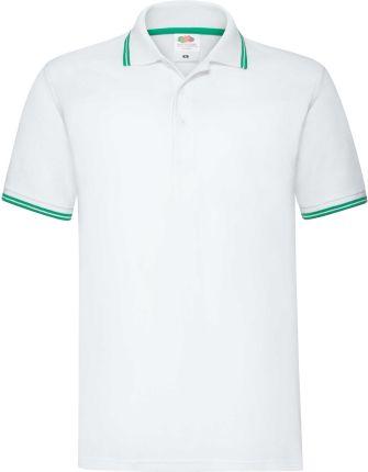 Koszulka męska Tipped Polo Fruit Of The Loom - Biały/Kelly Green - Ceny i opinie T-shirty i koszulki męskie AJTF