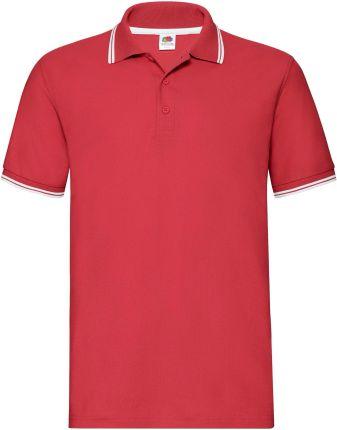 Koszulka męska Tipped Polo Fruit Of The Loom - Czerwony/Biały - Ceny i opinie T-shirty i koszulki męskie YHPG