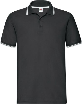 Koszulka męska Tipped Polo Fruit Of The Loom - Czarny/Biały - Ceny i opinie T-shirty i koszulki męskie THHV