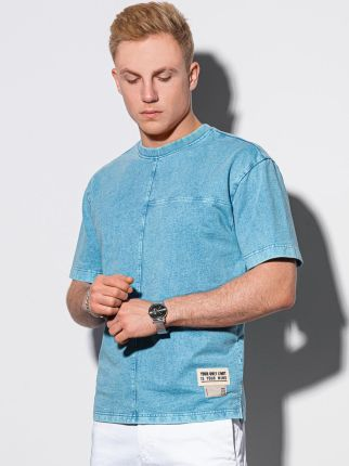 T shirt męski bawełniany S1379 niebieski S - Ceny i opinie T-shirty i koszulki męskie AXBZ