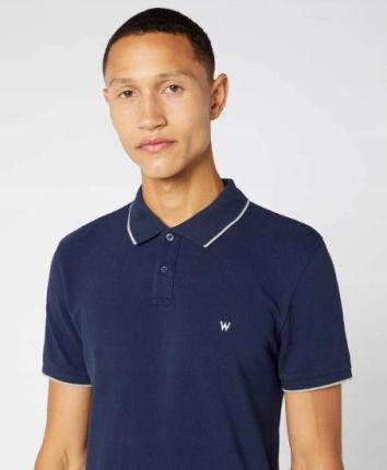 Koszulka Polo Męska Wrangler Granatowa W7MIK4114 S - Ceny i opinie T-shirty i koszulki męskie SYMN