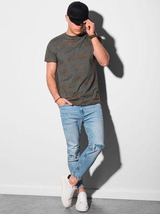 T shirt męski bawełniany S1372 grafitowy S - Ceny i opinie T-shirty i koszulki męskie LDAY