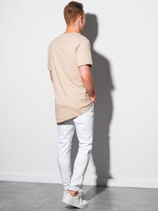 T shirt męski bawełniany S1378 beżowy S - Ceny i opinie T-shirty i koszulki męskie XKFN