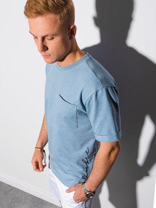 T shirt męski bez nadruku S1371 niebieski S - Ceny i opinie T-shirty i koszulki męskie HMFS
