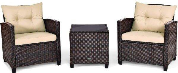 Costway Komplet Mebli Rattanowych Stolik +2 Krzesła