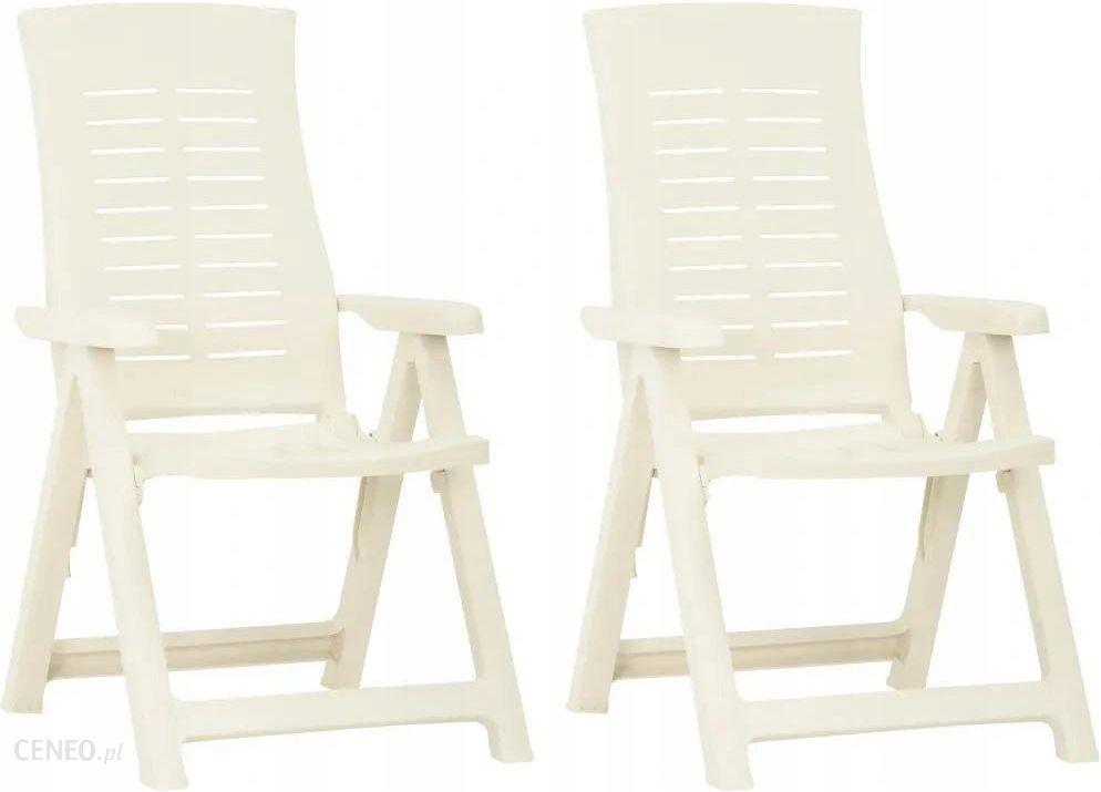 Krzesło Ogrodowe 2 Sztuki Plastikowe Białe
