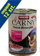 Animonda Carny Meat Menu Plus Indyk Z Krewetkami 12x400G