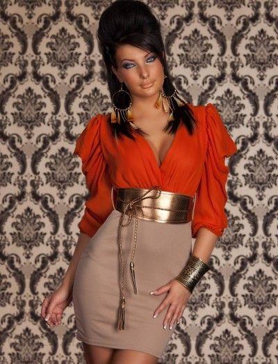 bf26ab9aea Beżowo pomarańczowa sukienka złoty pasek r. 34 XS - Ceny i opinie ...