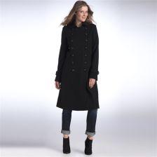 d330c8baf5bc LA REDOUTE CREATION Płaszcz długi w oficerskim stylu sukno 60% wełny  (GH723) CZERŃ-ZIELEŃ KHAKI CIEMNA