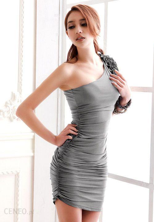 fa08428bea Szara sukienka damska na jedno ramię Japan Style S3736 - Ceny i ...