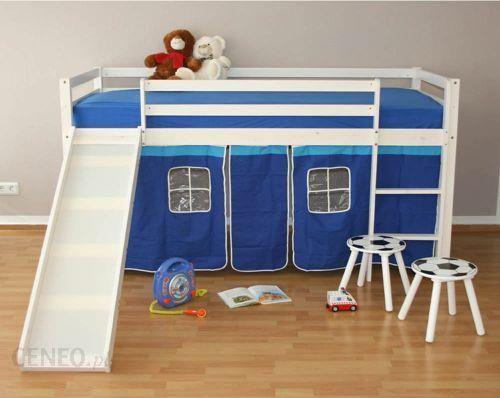 Homestyle4u łóżko Piętrowe Dla Dzieci Z Zjeżdżalnią I Niebieską Kurtyną