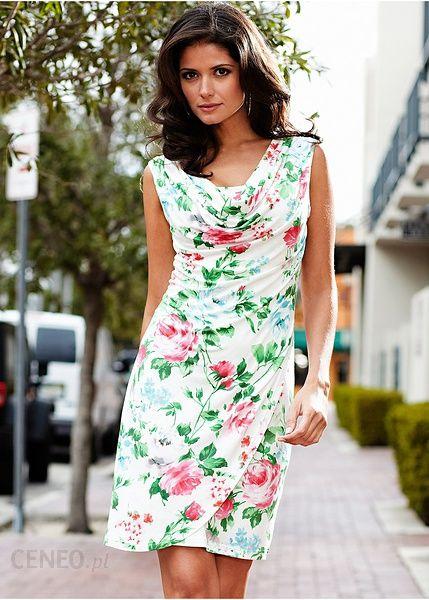 f4f2ea18cd Bonprix Sukienka 916346 13617 biało-kolorowy - Ceny i opinie - Ceneo.pl