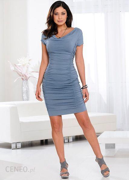786cf98cf9 ... Bonprix Sukienka z drapowaniem 927683 17964 niebieski dymny - zdjęcie 3  ...
