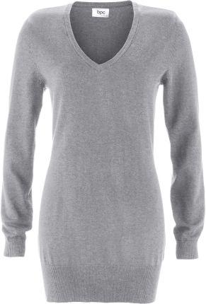 327aada01fbe Bonprix Długi sweter szary melanż 930273 12168 Bonprix