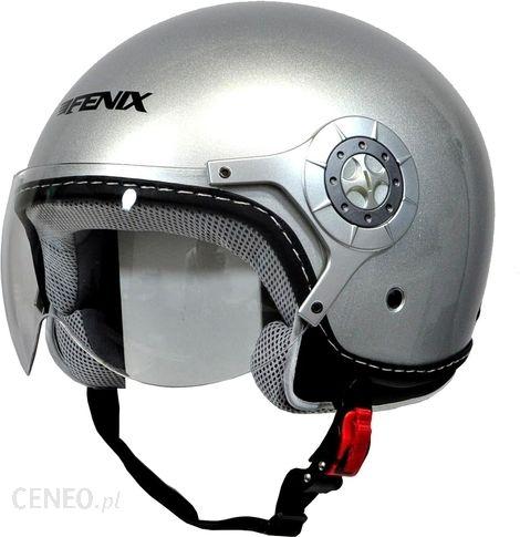 Kask motocyklowy Fenix Kask Open Face Z Szybą Hy 806 Silver