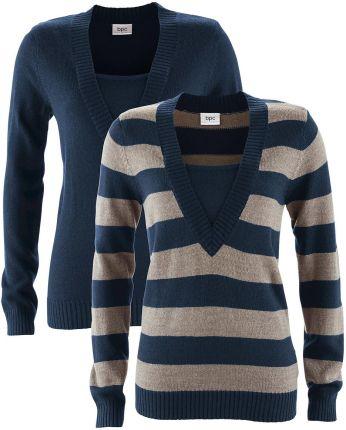 56949255bc53 Bonprix Sweter (2 szt. w opak.) ciemnoniebieski w paski + czarny Bonprix