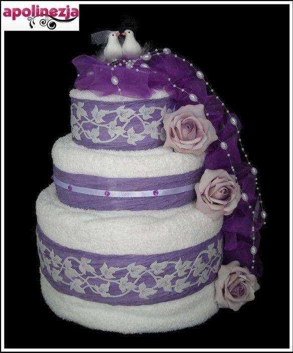 Chwalebne Tort z Ręczników 3-Piętrowy Fioletowy Prezent na Ślub Wesele AS83