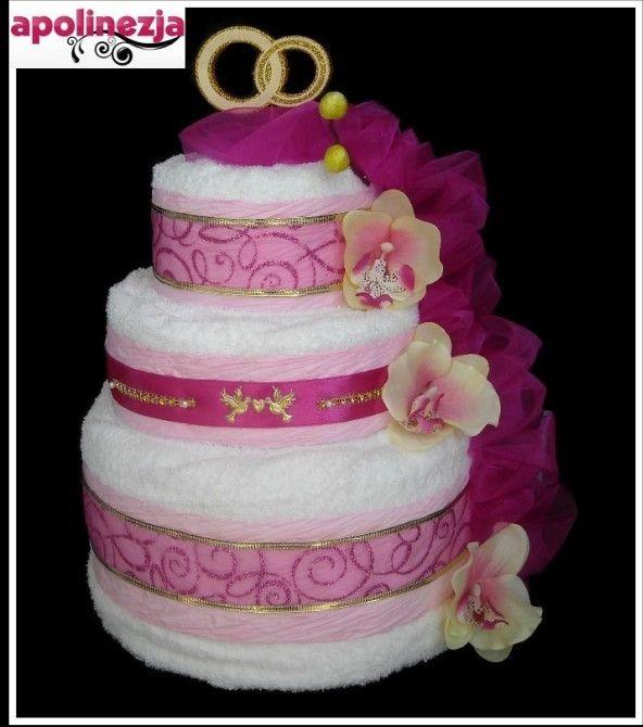 Rewelacyjny Tort z Ręczników 3-Piętrowy Różowy Prezent na Ślub Wesele Urodziny CI84