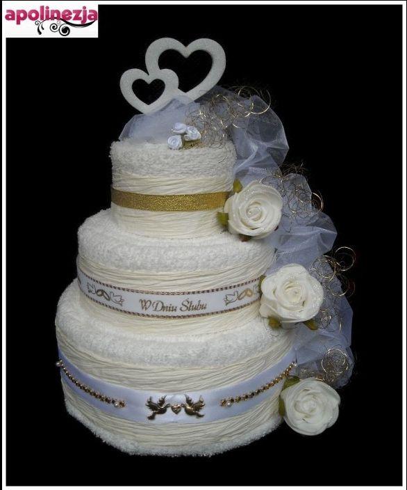 Genialny Tort z Ręczników 3-Piętrowy Biało-złoty Prezent na Ślub Wesele KT72