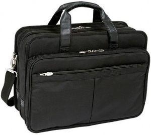 b2dfe6870e627 McKlien Torba biznesowa na laptopa ramię Nylon Czarna WALTON 17